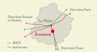 Plan d'accès à la commune d'Ecommoy